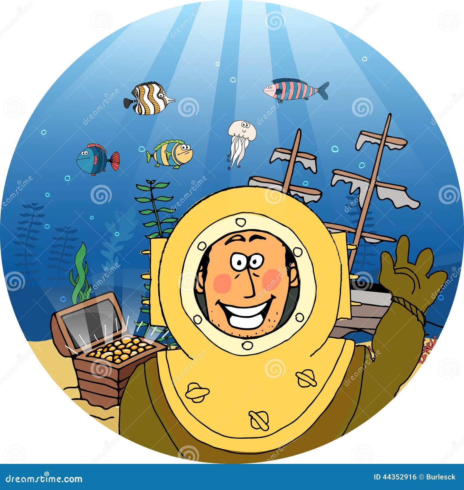 Diver Treasure Chest Stock Vector Image