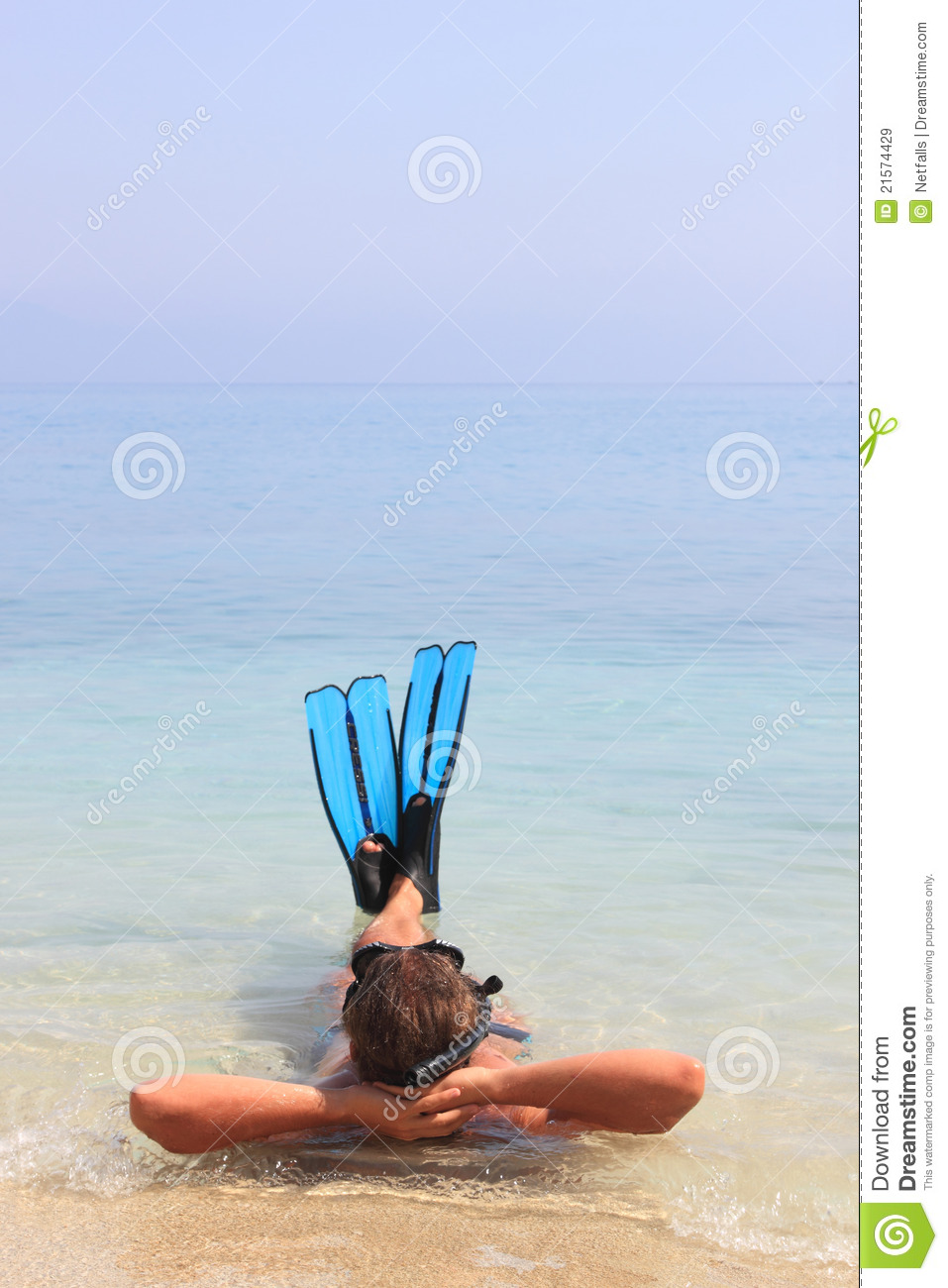 Funny diving man in a swimming mask and snorkel stock for Dive tube
