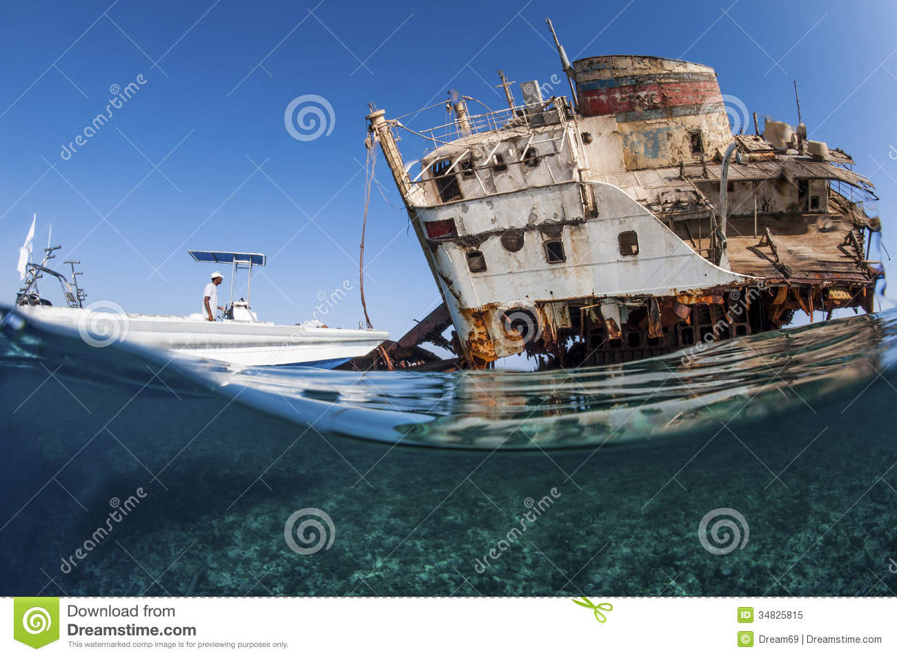 Diver with wreck