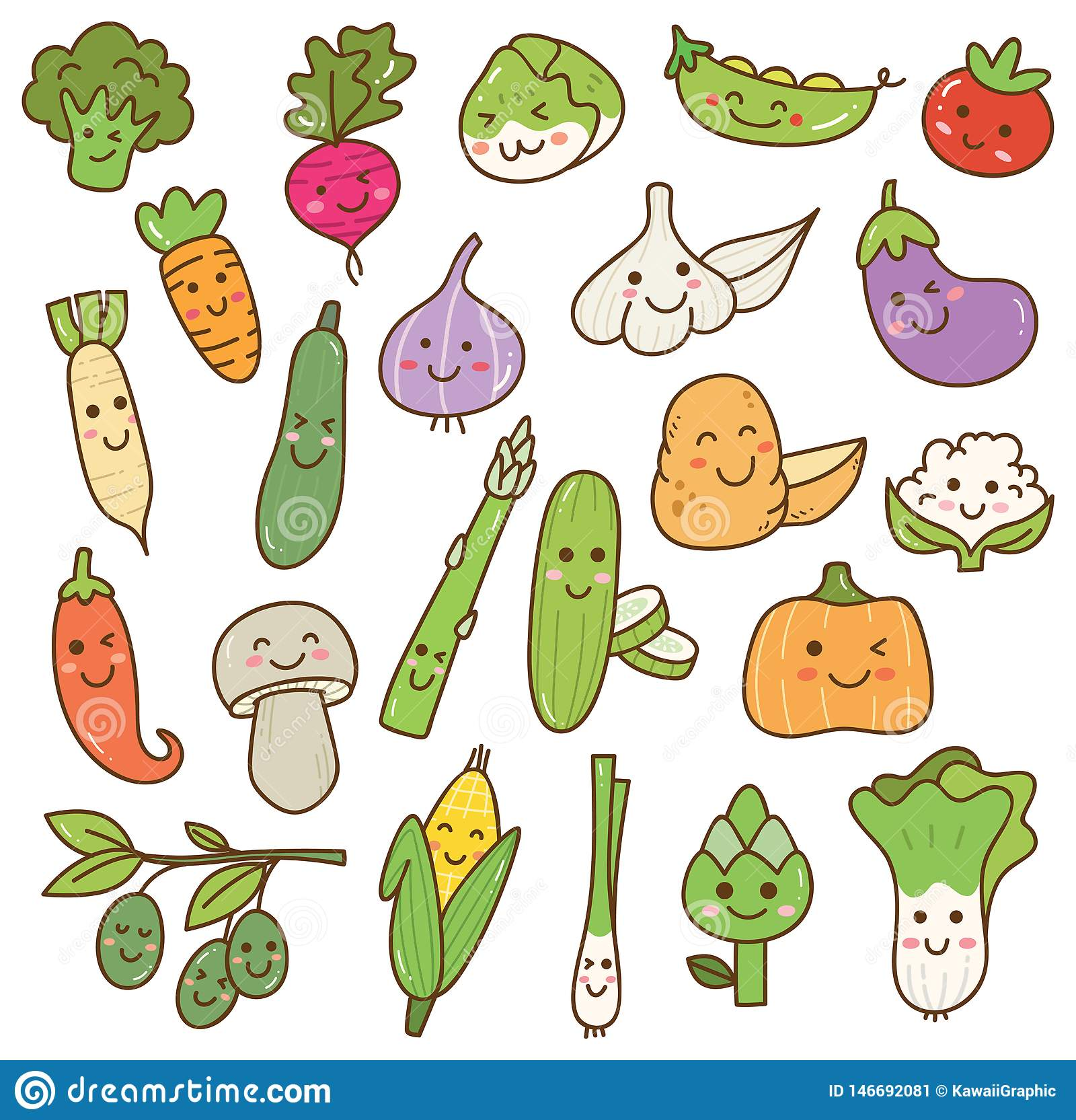 Divers element van het kawaiiontwerp van de groentenkrabbel