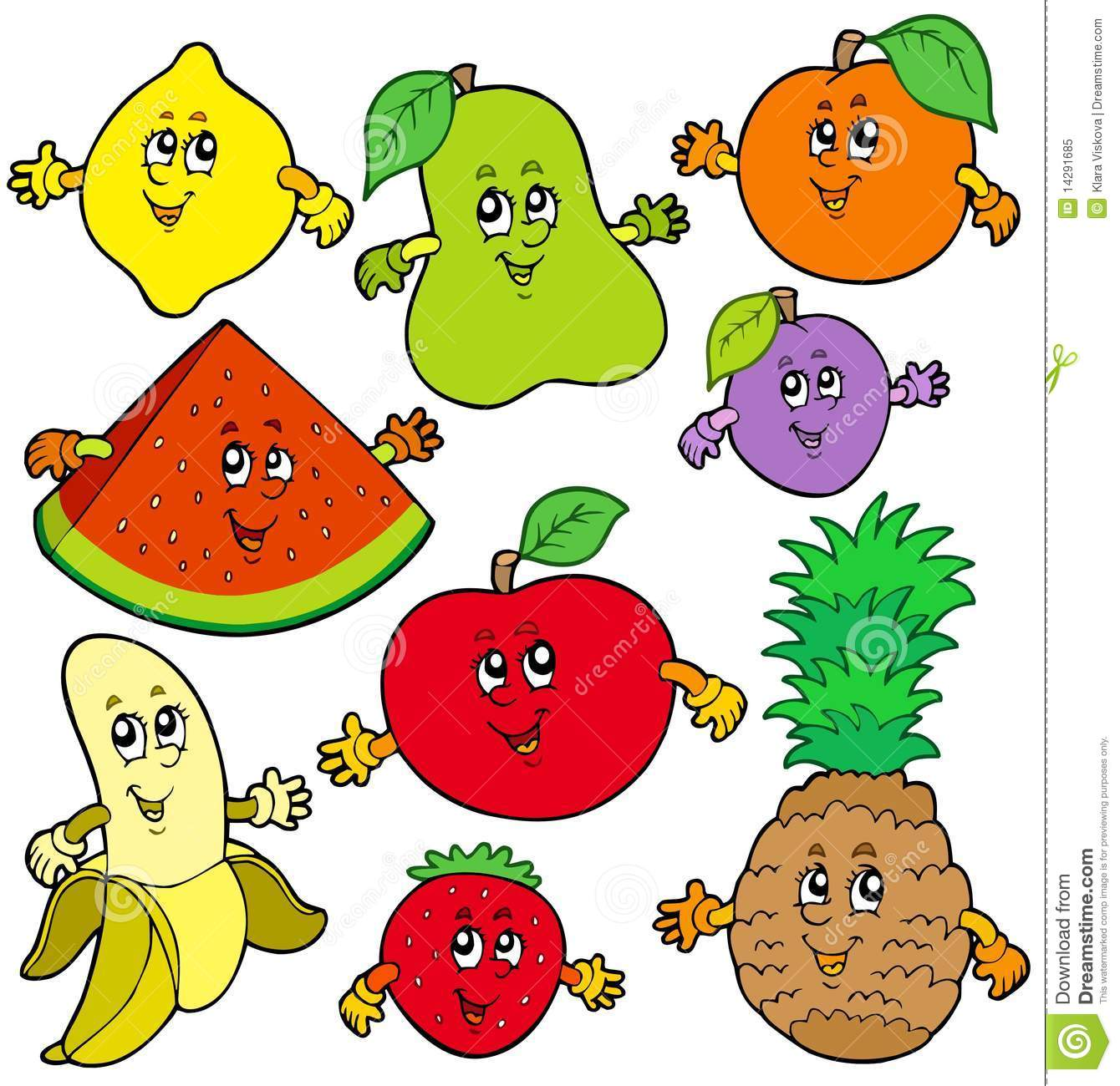 Fruit Dessin divers fruits de dessin animé illustration de vecteur - illustration