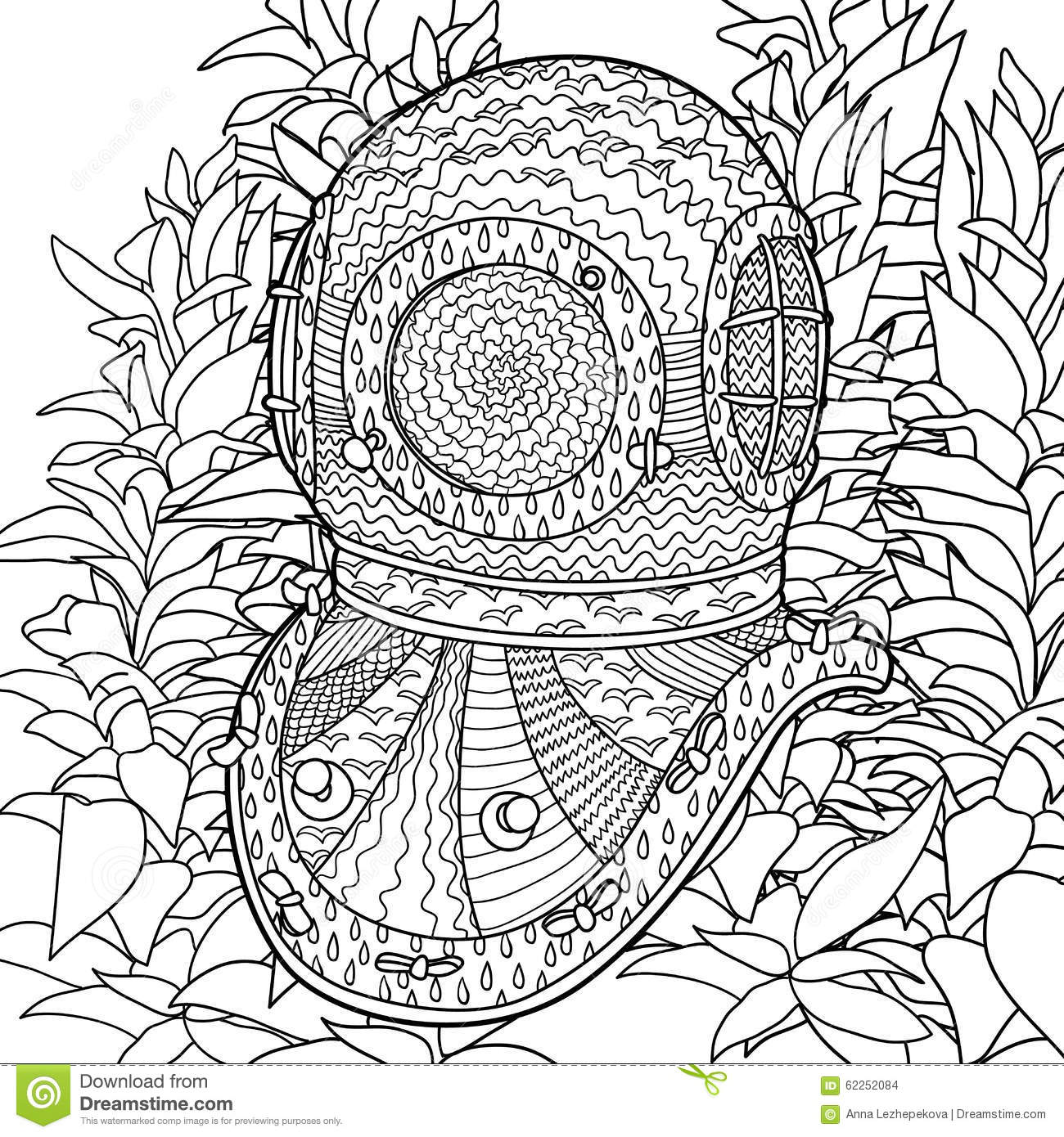 divers helmet in coloring pages for adults stock vector image