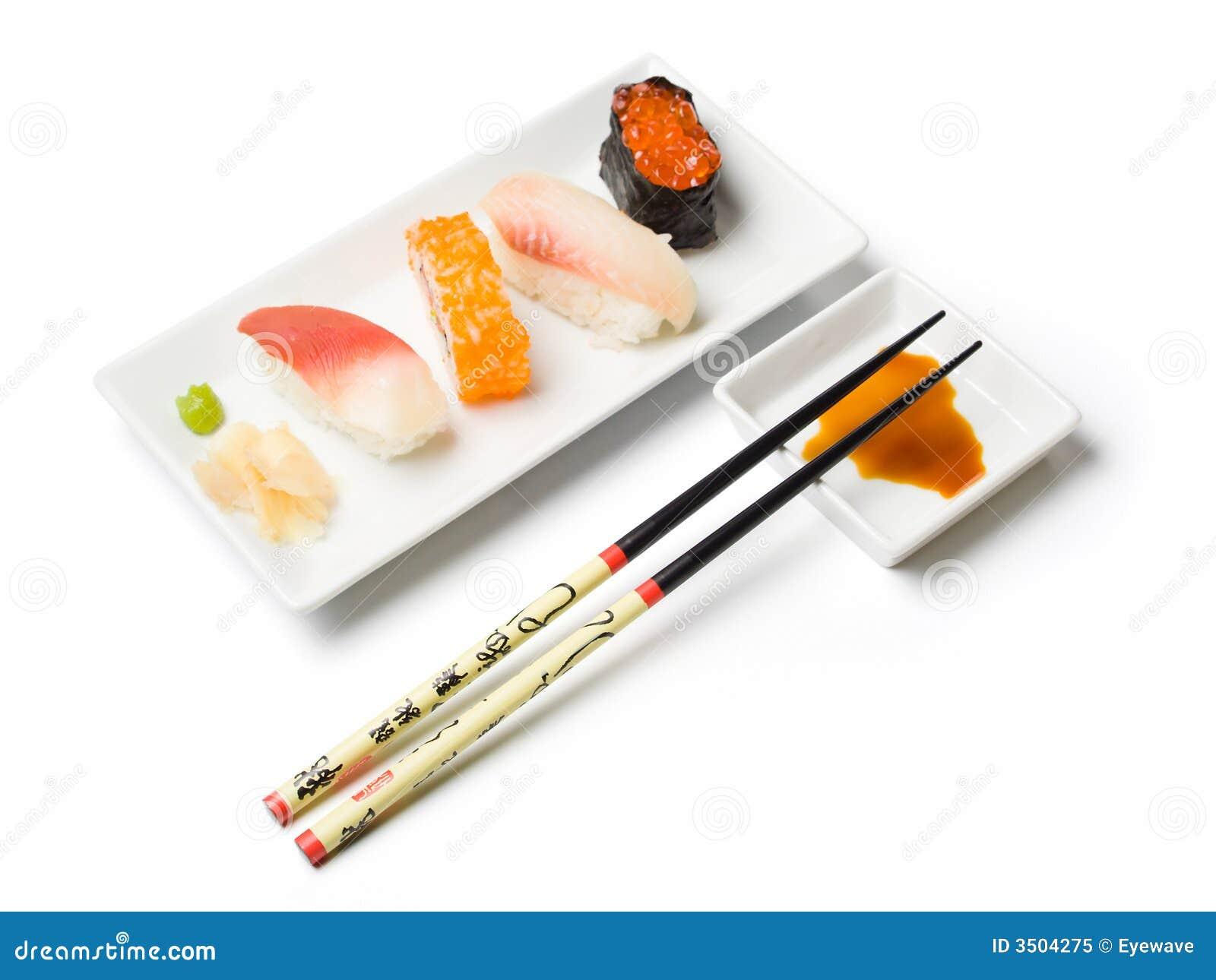 Divers repas de sushi
