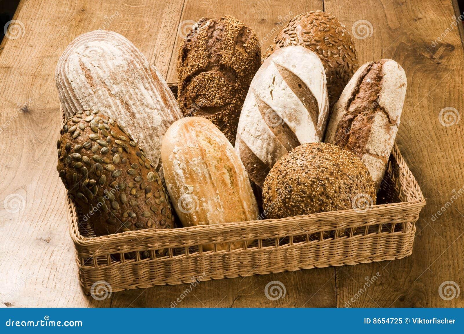 Divers types de pain brun