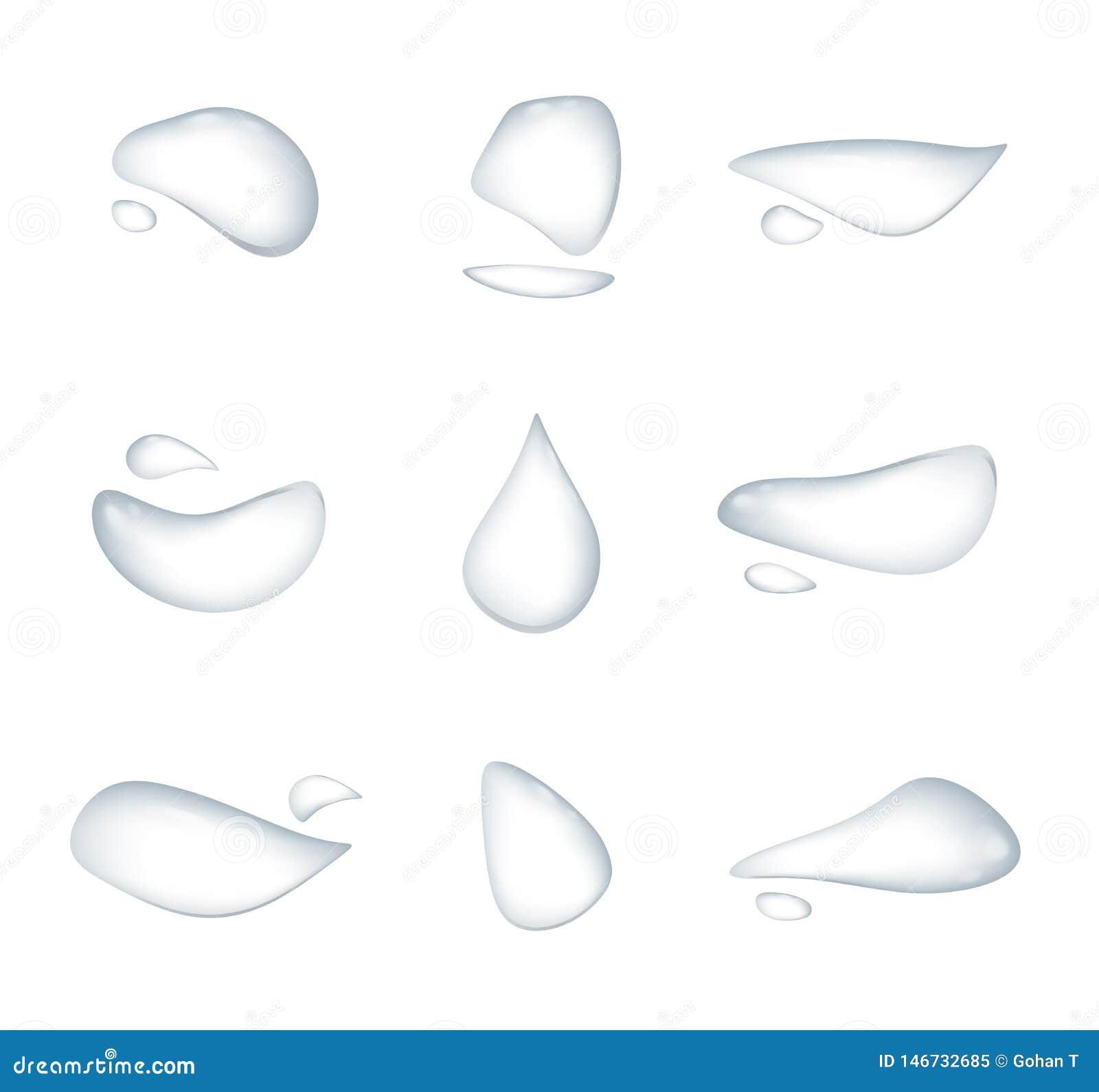 Diversa forma del vector realista de los descensos del agua aislado en el fondo blanco, superficie de cristal de la condensación
