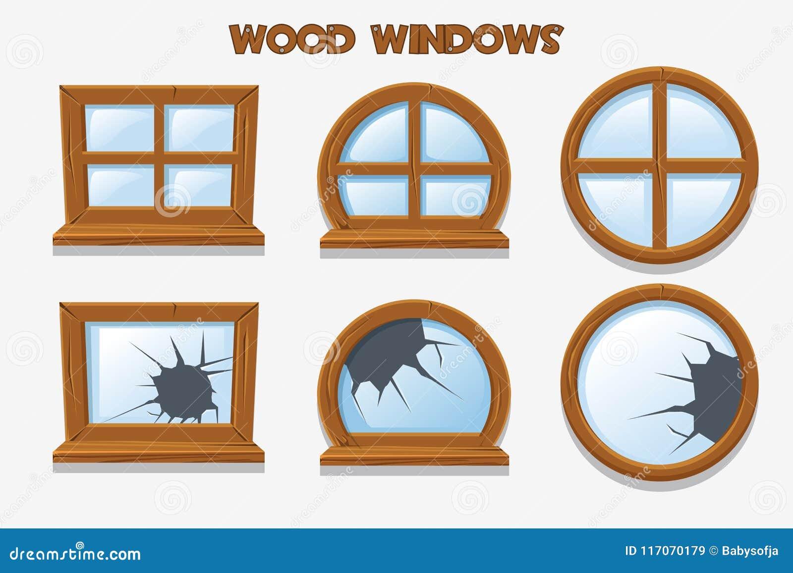 Diversa forma y ventanas de madera rotas viejas, objetos del edificio de la historieta Interiores caseros del elemento
