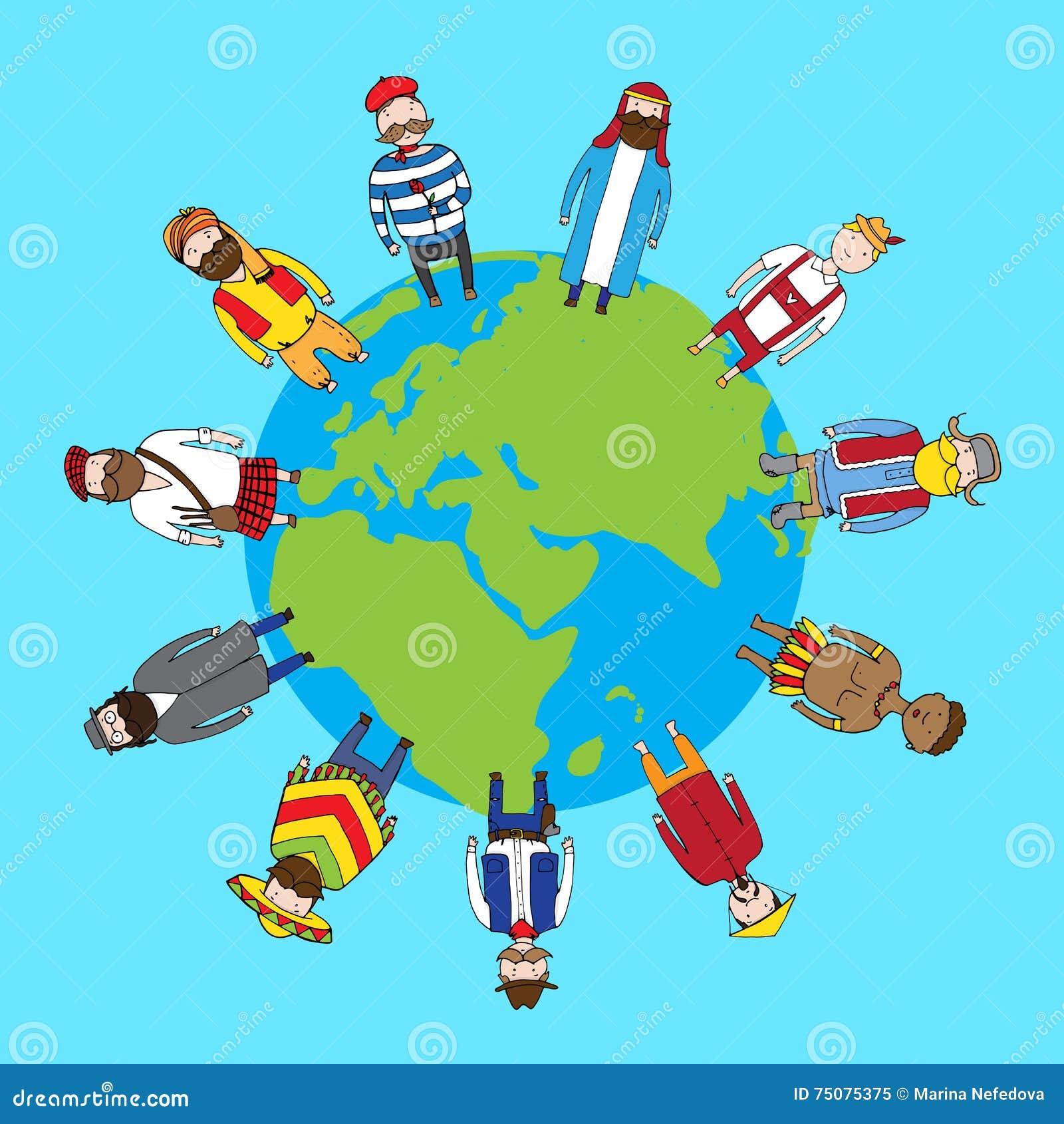 Diversa Gente De La Nacionalidad Que Se Coloca En La Tierra En Paz Stock De Ilustracion Ilustracion De Gente Coloca 75075375