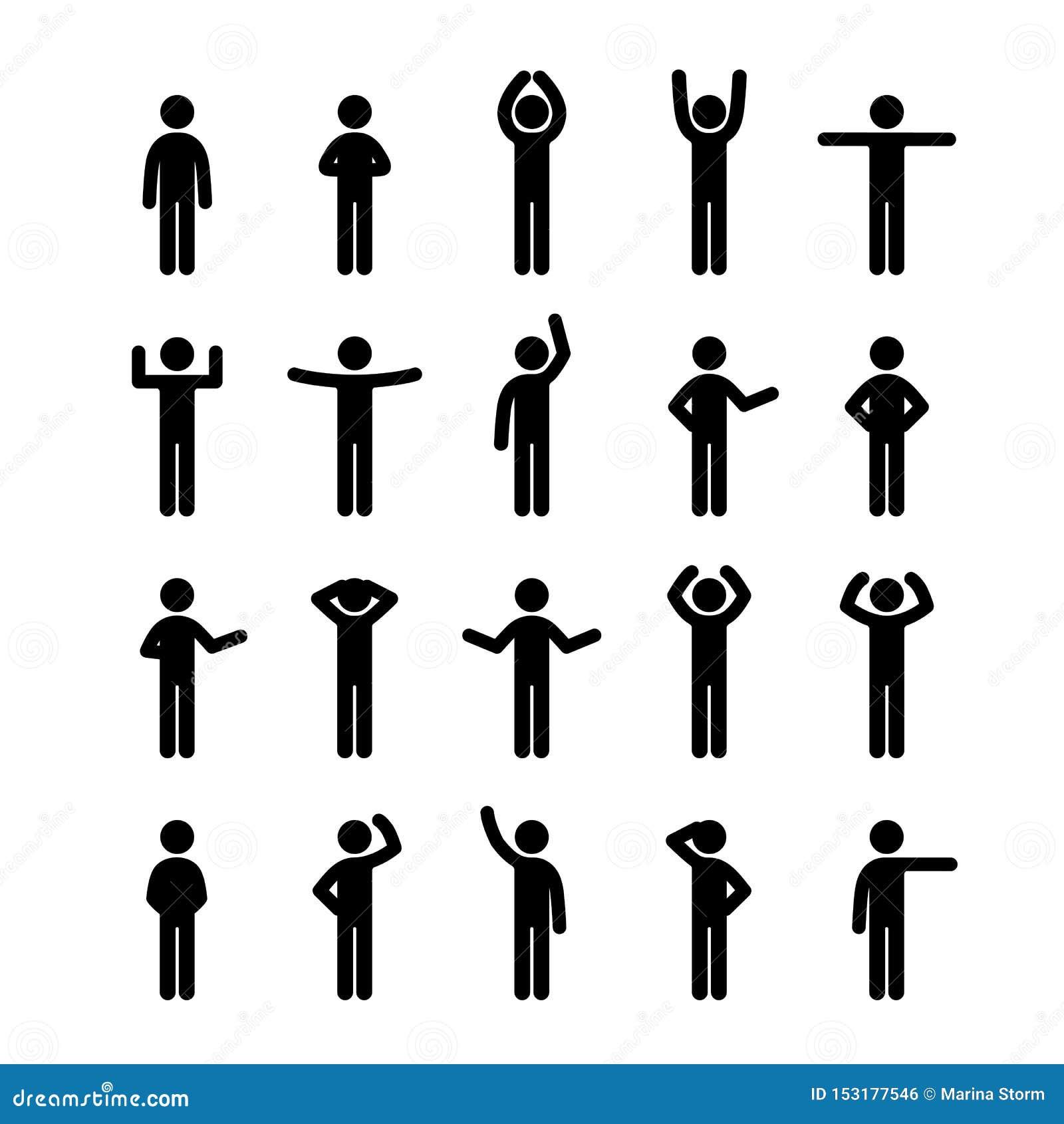 Diversas actitudes pegan la figura sistema del icono del pictograma de la gente Muestra humana del símbolo