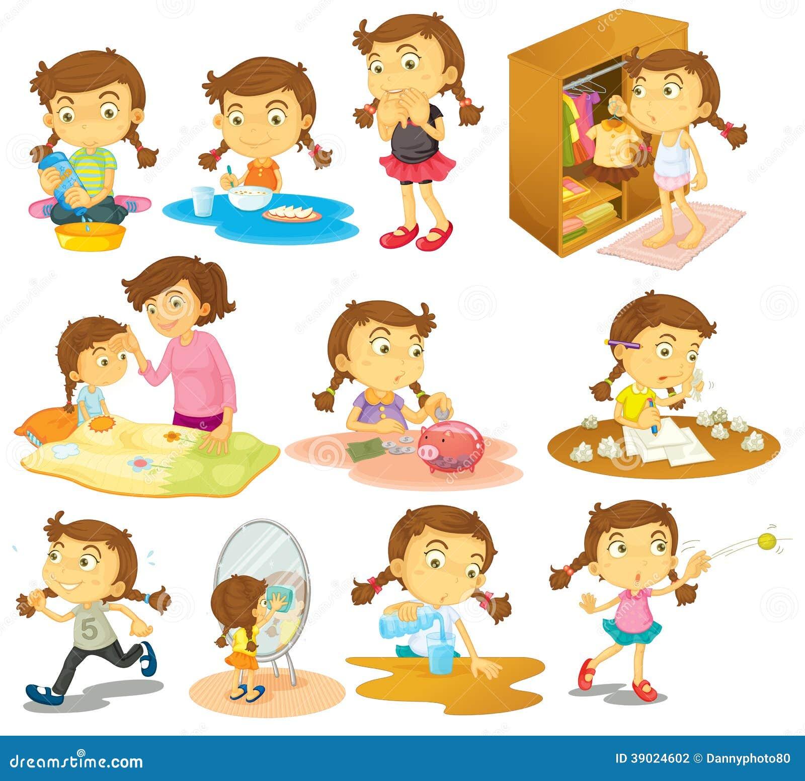 Diversas actividades de una chica joven