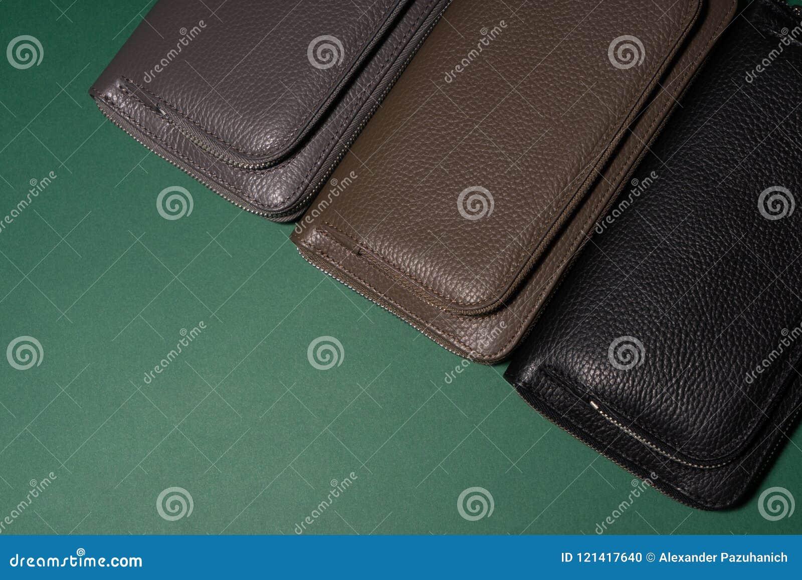 Diversas carteras de cuero en la cremallera Fondo verde