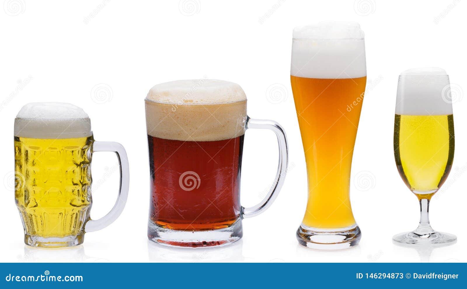 Diversas cervezas aisladas contra un fondo blanco