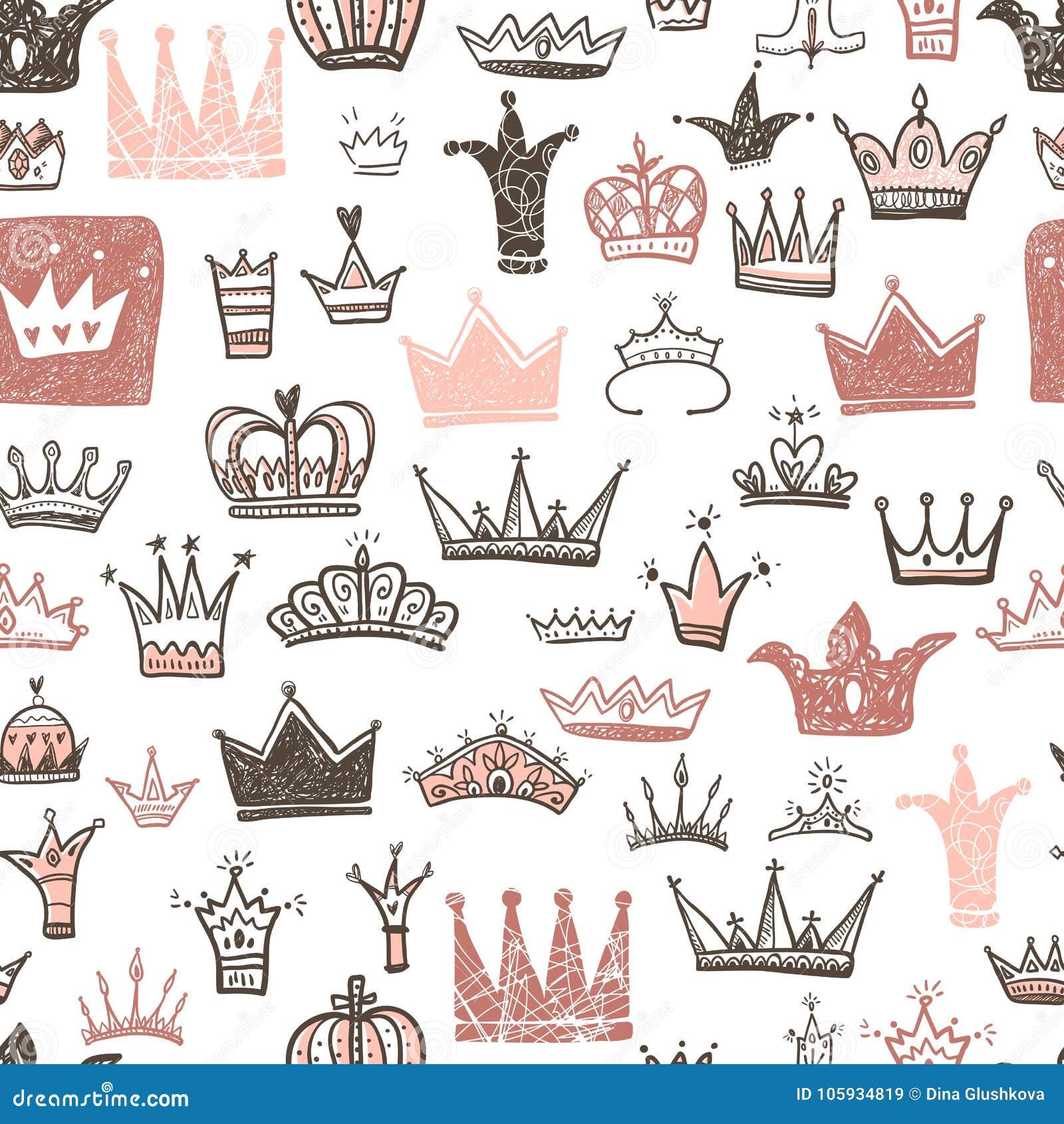 Diversas coronas dibujadas mano fijadas, estilo del garabato del ejemplo del vector