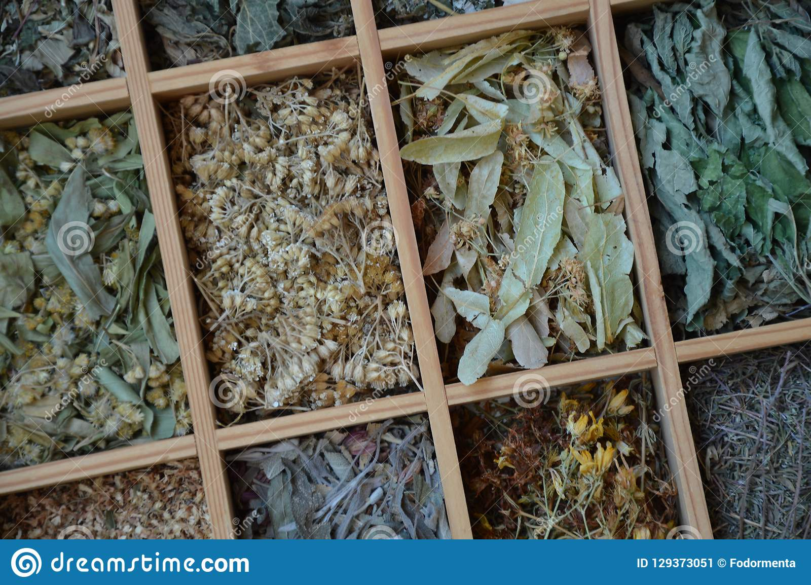 Diversas hojas de té en pequeñas cajas desde arriba