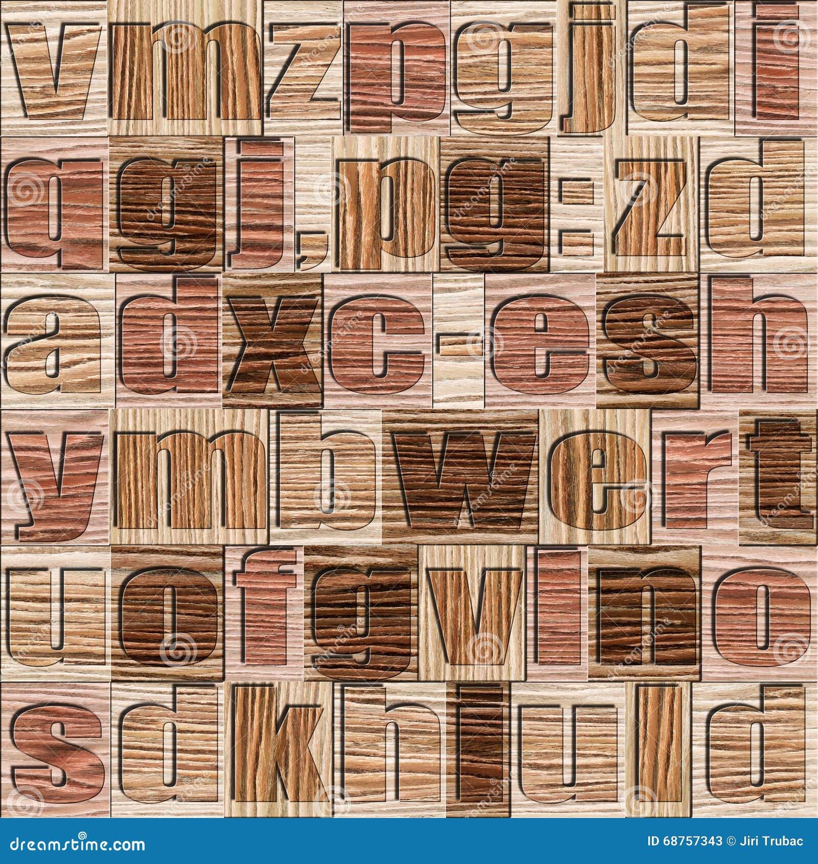 Diversas letras en fondo Modelo de madera arruinado del surco del roble