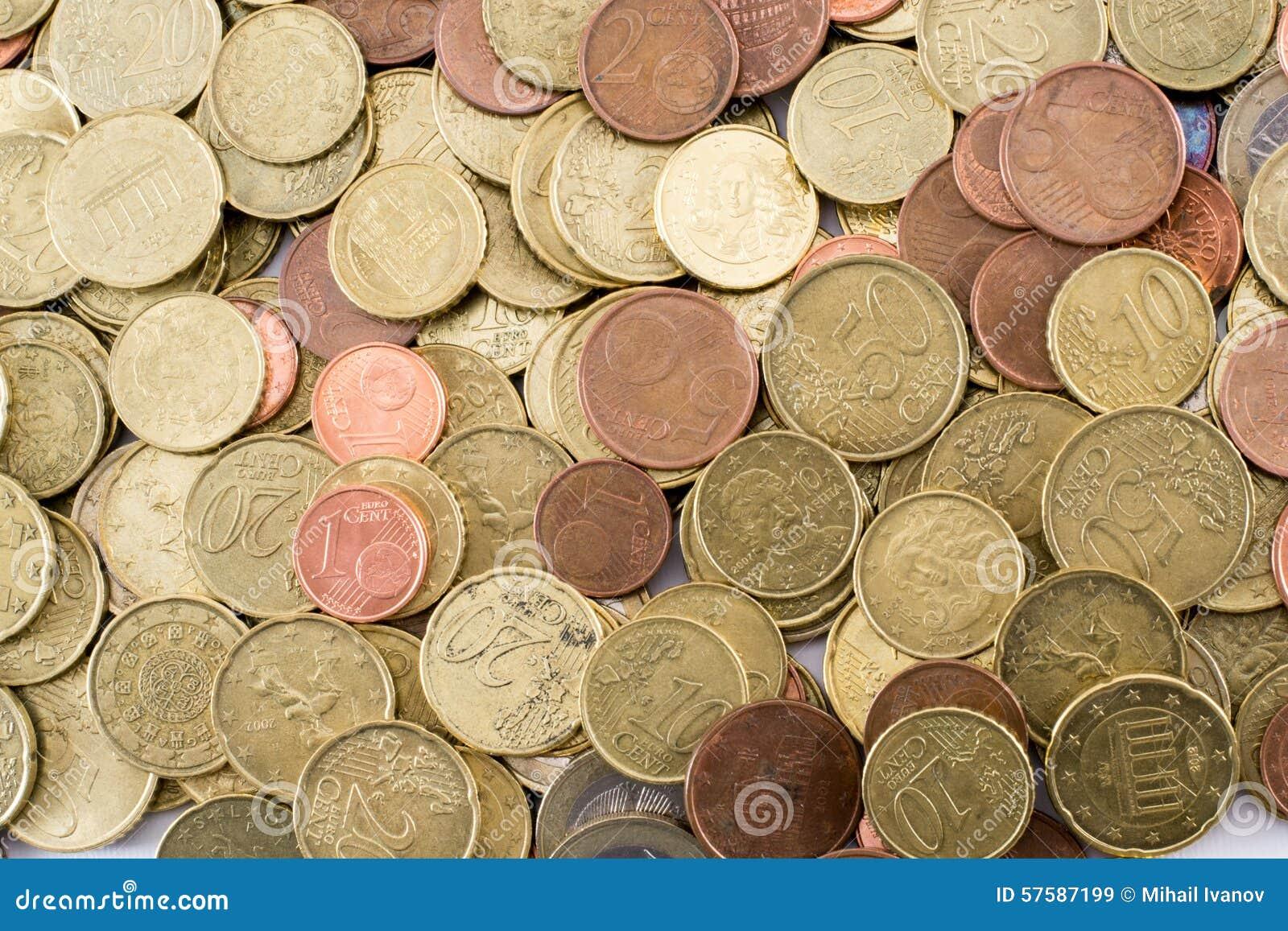 Diversas monedas euro de la moneda