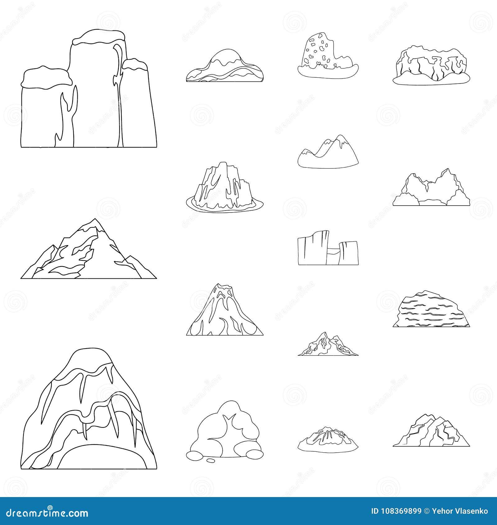 Diversas Montañas Resumen Iconos En La Colección Del Sistema Para El ...