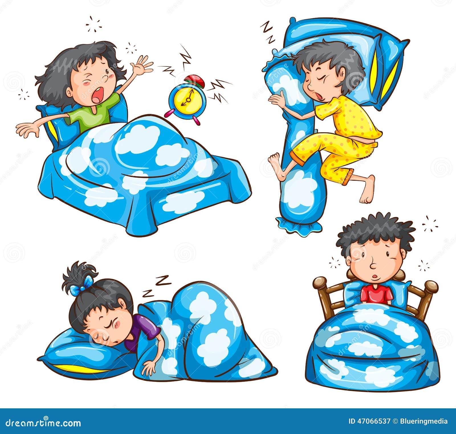Diversas posición y reacción de niños