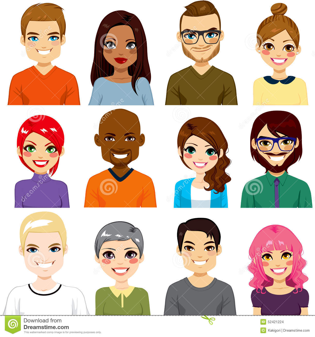 Diverse Avatar Collection Stock Vector Image 52421224