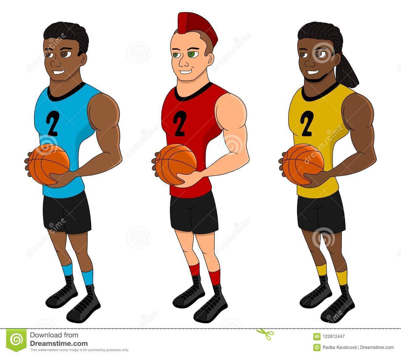 Diverse basketball players - cartoon collection