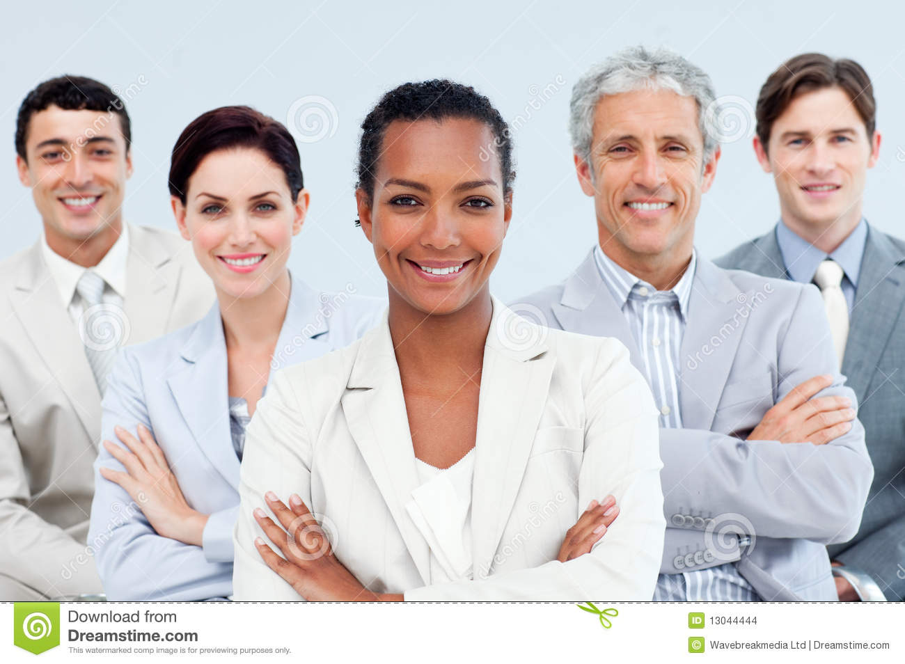 diverse business people standing with folded arms stock