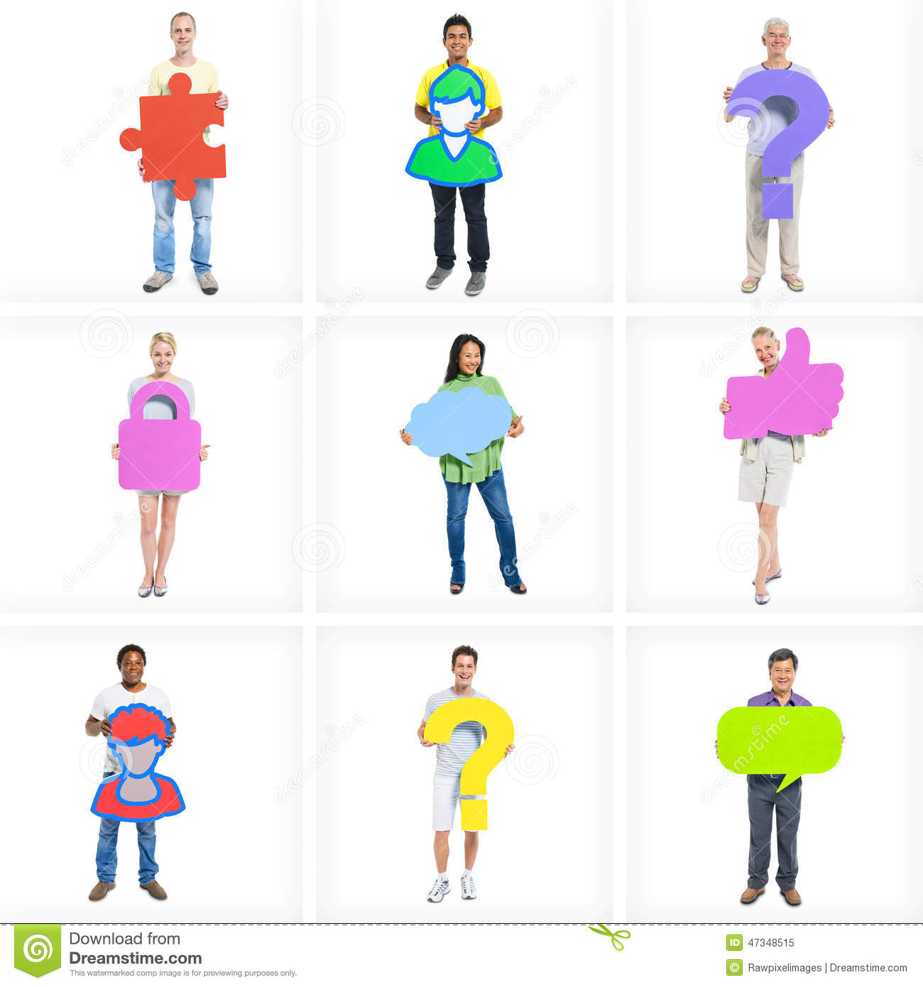 diverse business people standing holding icon stock photo