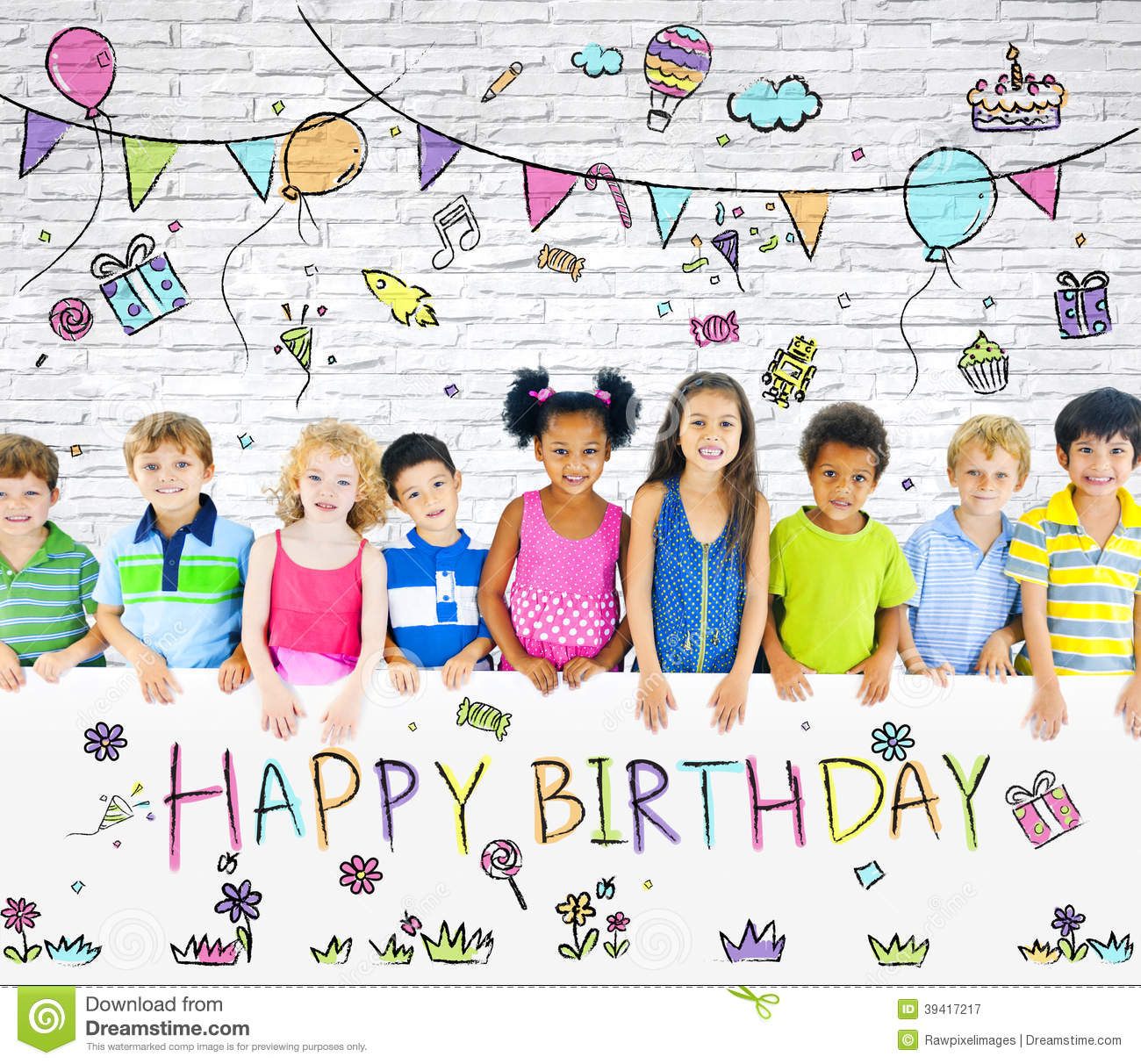Diverse Children On Birthday Party Stock Photo Image