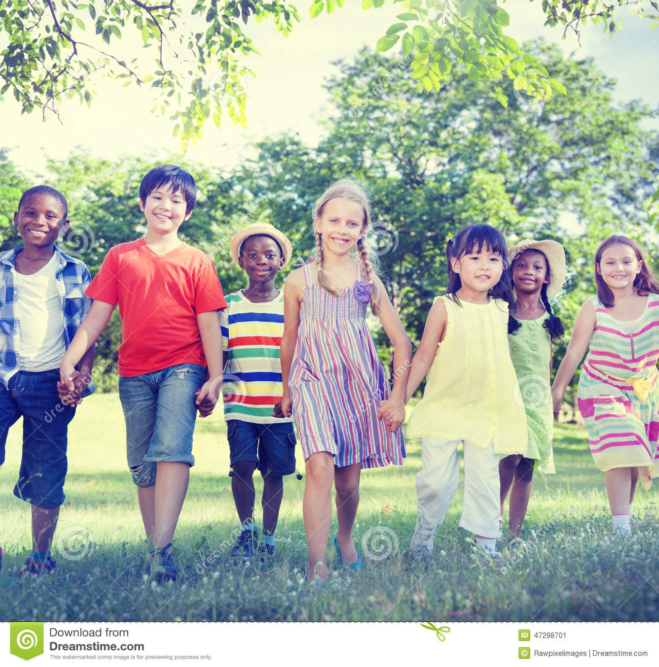 Diverse Children Friendship Playing Outdoors Concept Stock Photo ...