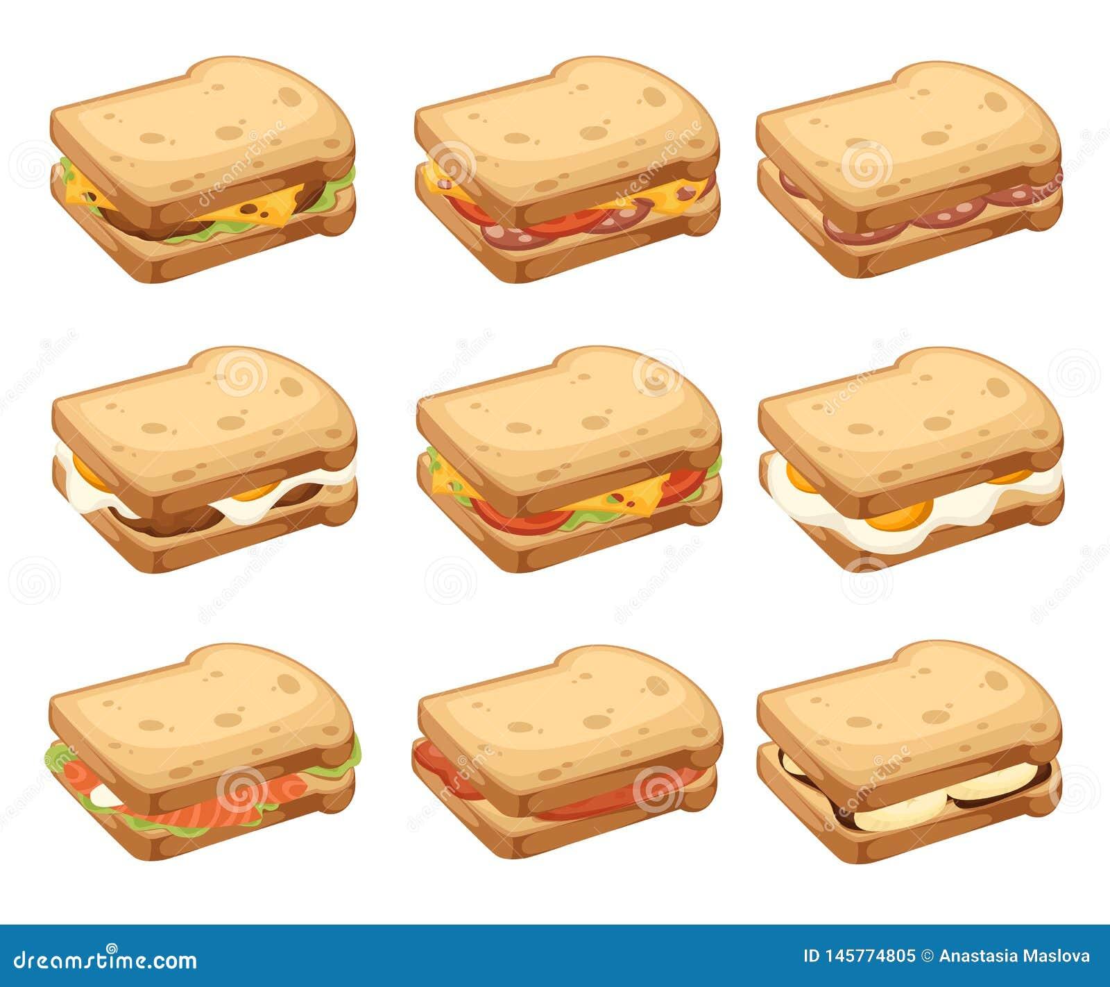Diverse collection d icône de viande et de sandwichs végétaux Deux parties de pain Petit déjeuner savoureux doux ou aliments de p