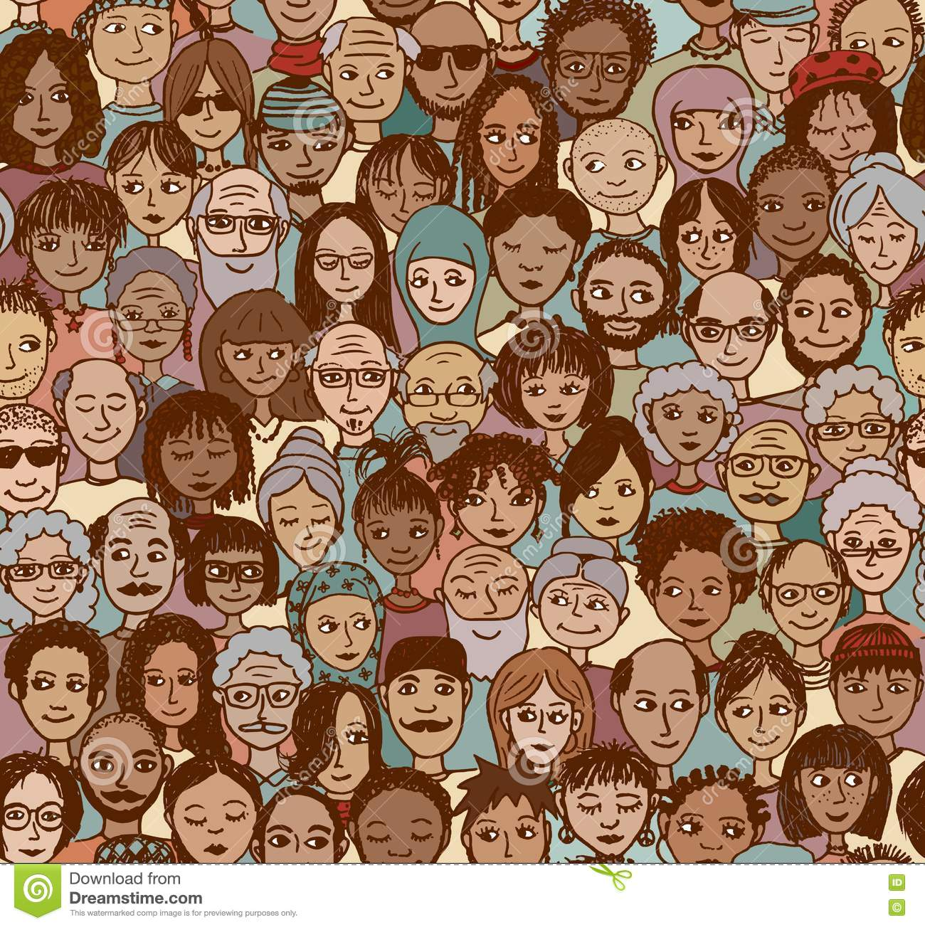 Diverse crowd of people stock vector. Image of faces ...