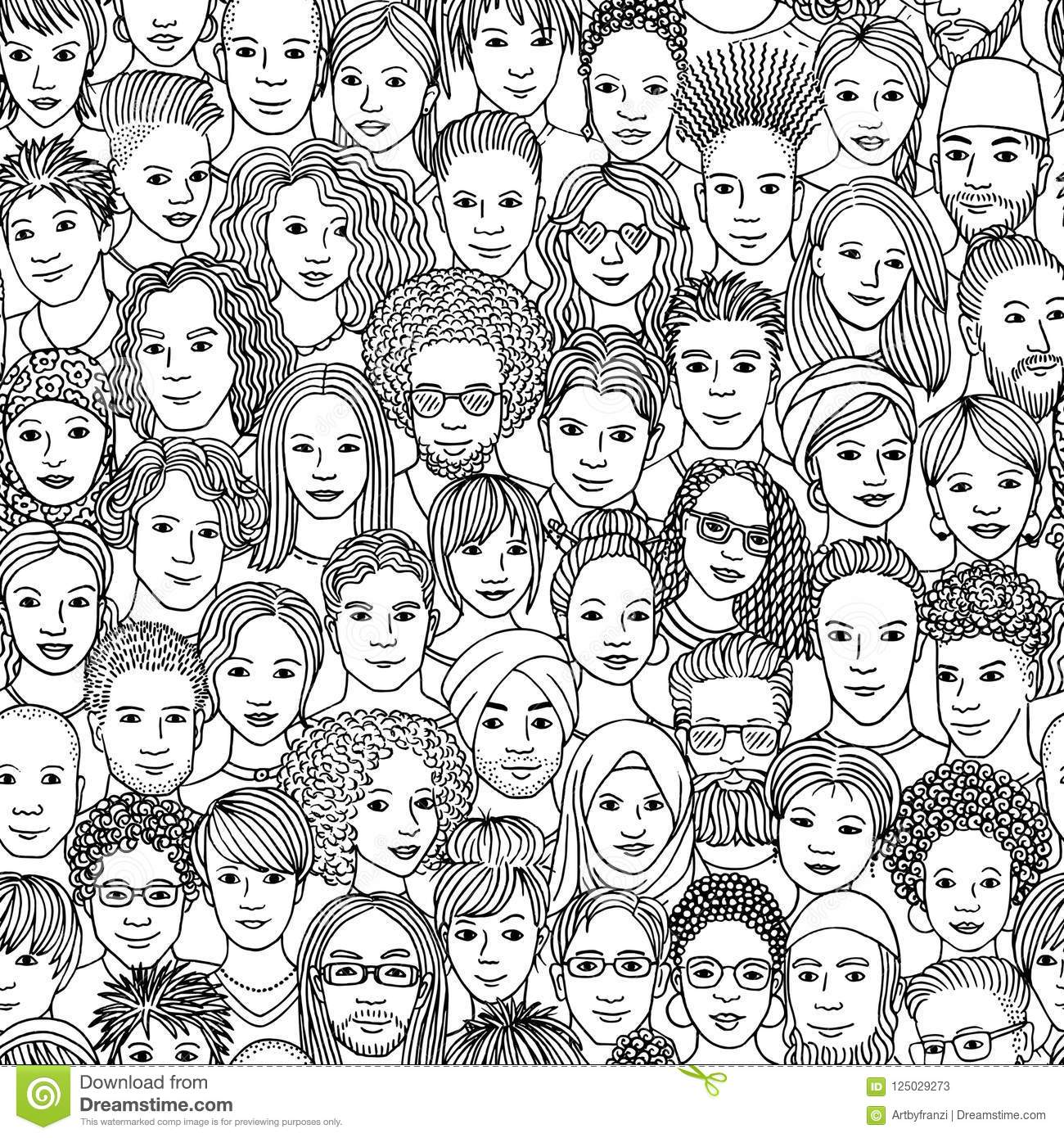Diverse crowd of people seamless pattern of hand drawn faces of various ethnicities