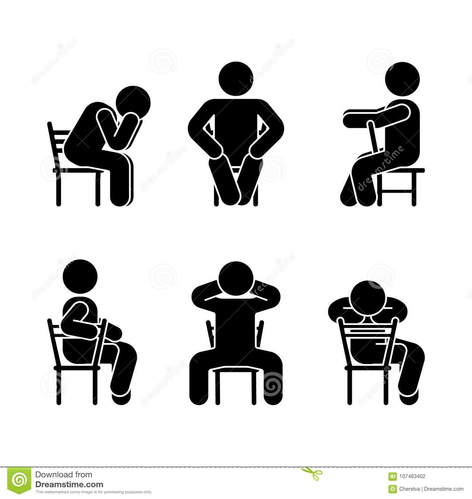 Diverse de zittingspositie van mensenmensen Het cijfer van de houdingsstok Het vector gezette pictogram van het het symboolteken