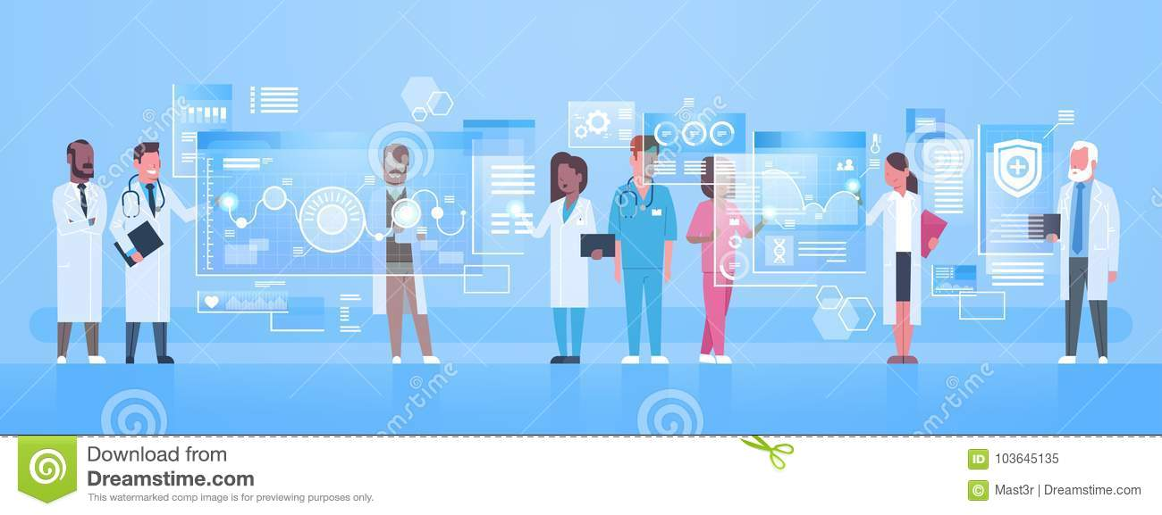 Diverse Doctors Group Use Virtual Computer Screen With Digital Buttons Innovation Technology Concept Modern Medical