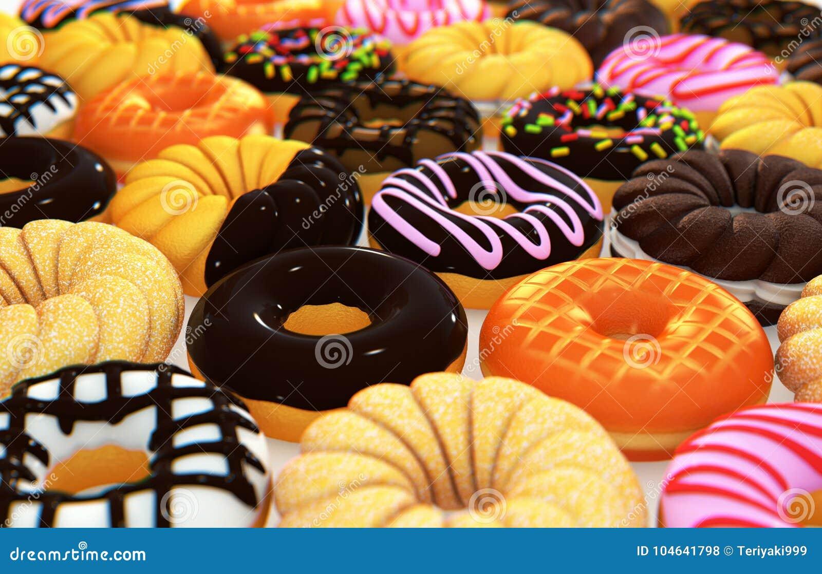 Download Diverse Donuts Het 3D Teruggeven Stock Illustratie - Illustratie bestaande uit donut, voedsel: 104641798