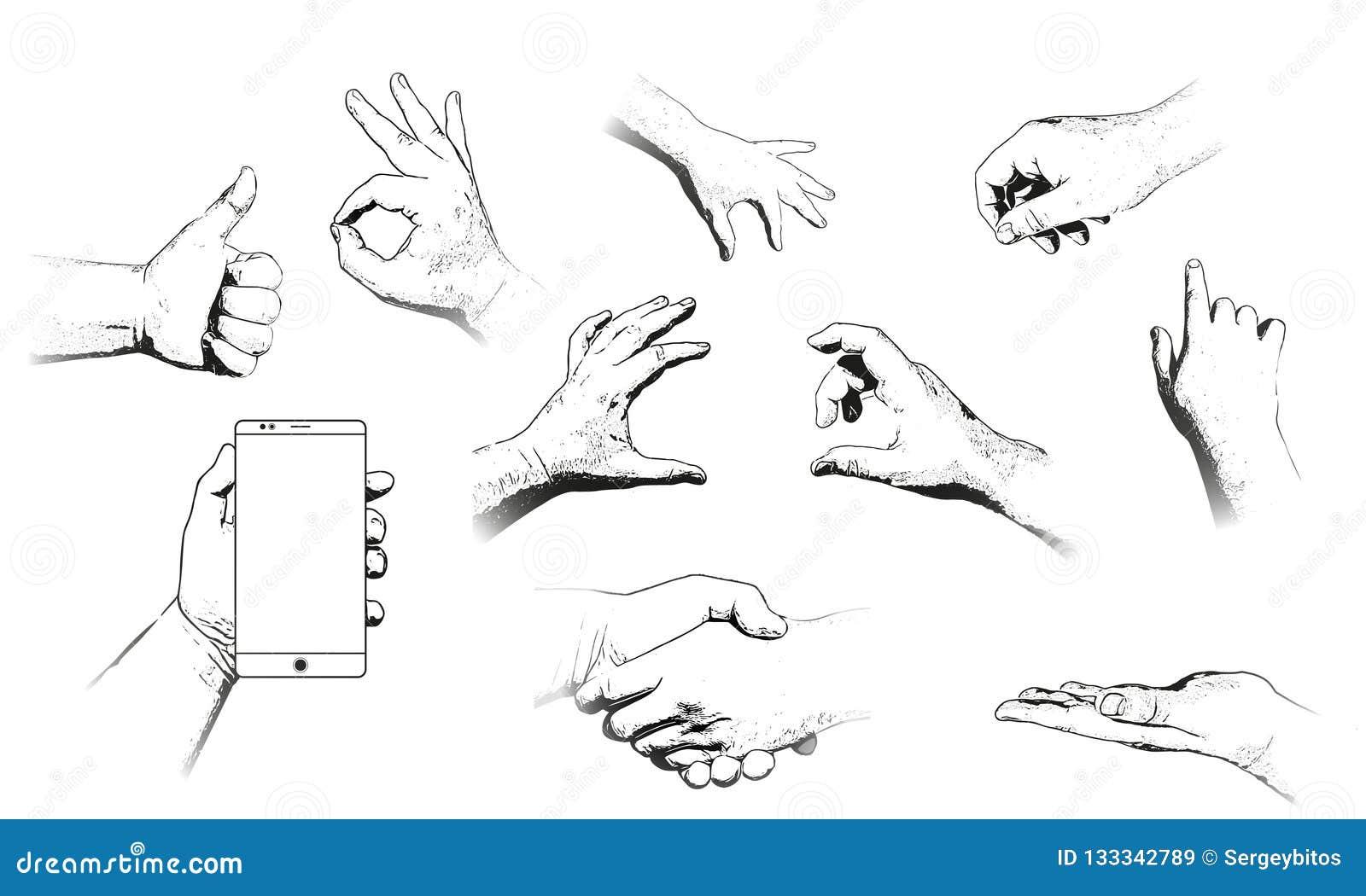 Diverse geïsoleerde gebaren van menselijke handen