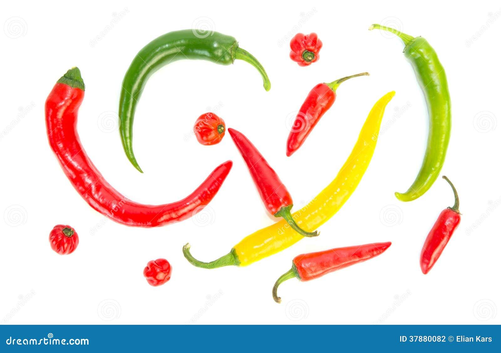 Diverse gekleurde hete peper