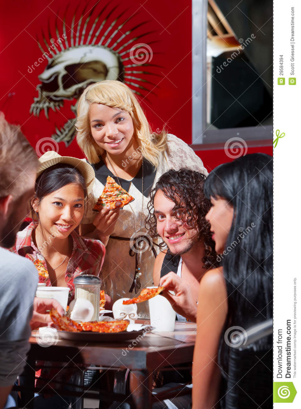 Download Diverse Group Eating Pizza Outside Stock Photo - Image of outside, european: 29584394