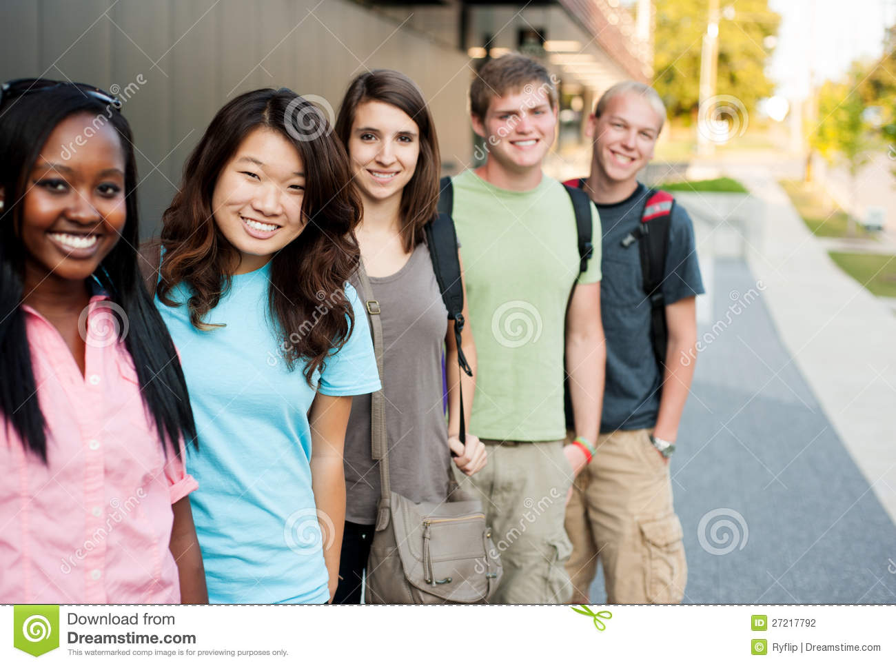 Group Of Diverse Students/friends Outside Stock Photo - Image ...