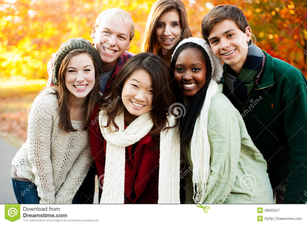 Diverse Group Of Smiling Friends In A Pyramid In Autumn Stock ...