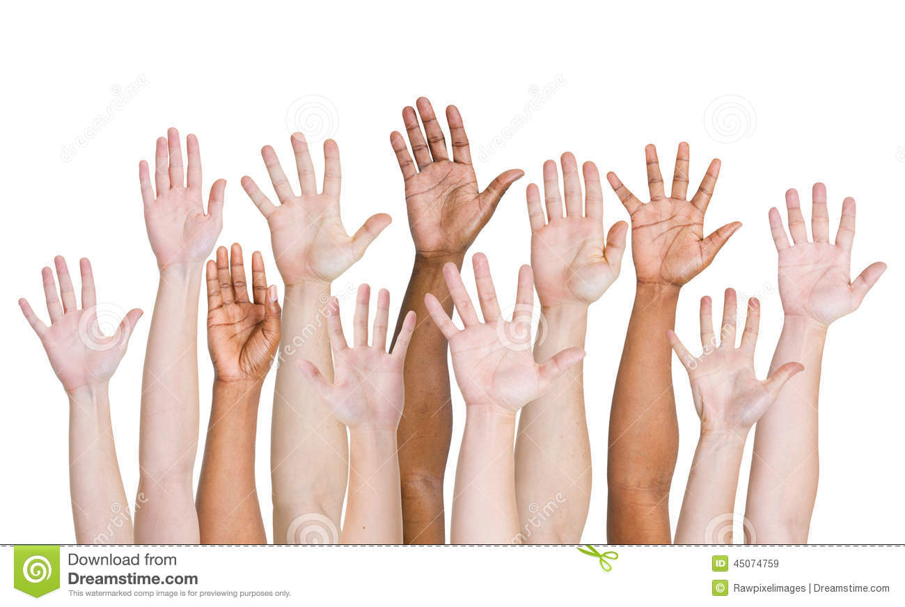 Diverse Group Of Hands Raised Up Stock Photo - Image: 45074759