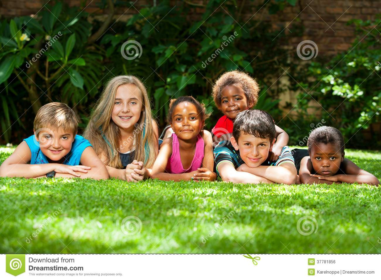 Diverse Group Of Kids Together In Garden. Royalty Free Stock Image ...