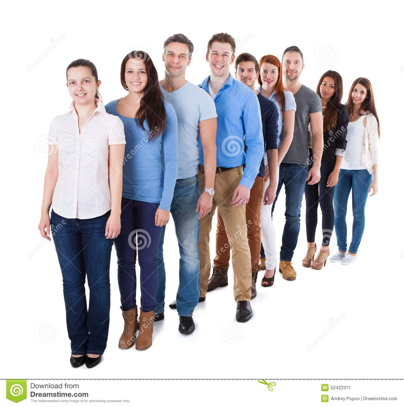 diverse group of people standing in row stock image