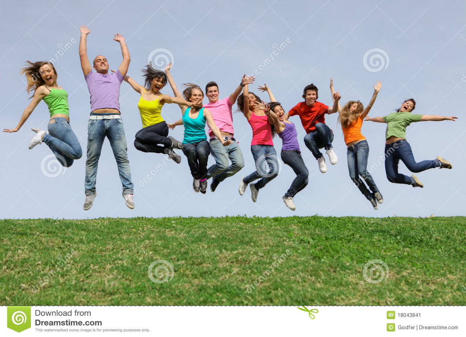 diverse Group teens, teenagers jumping