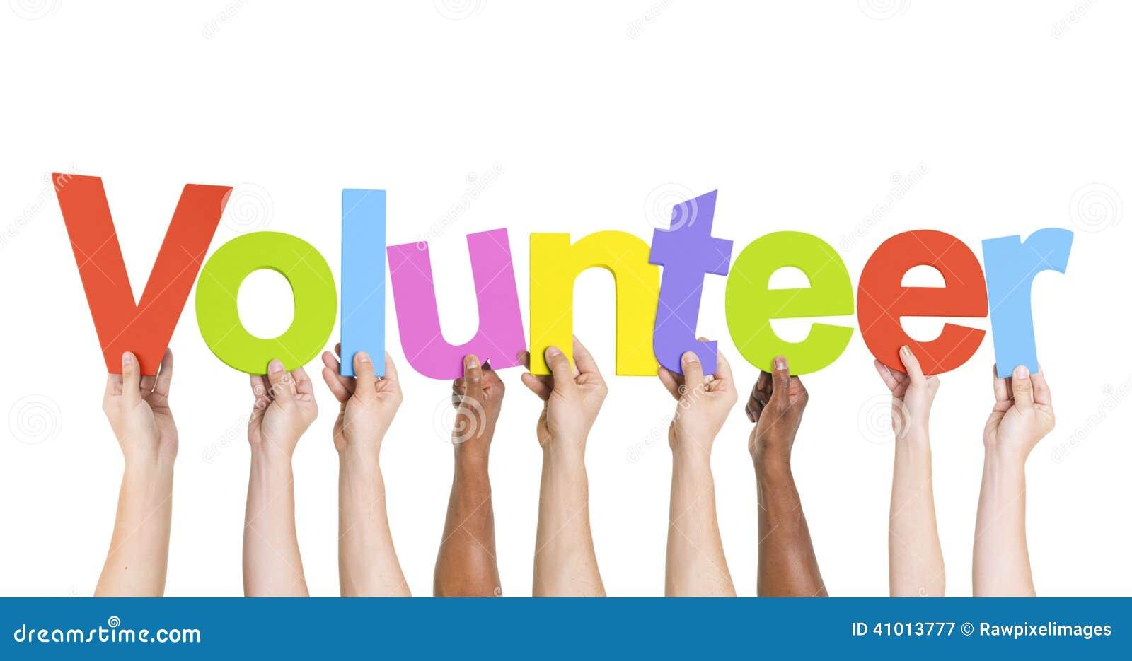 Diverse Handen die de Word Vrijwilliger houden