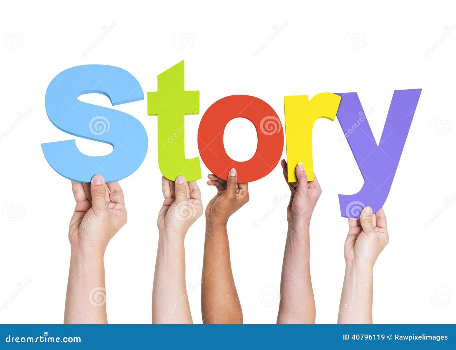 Diverse Handen die het Word Verhaal houden