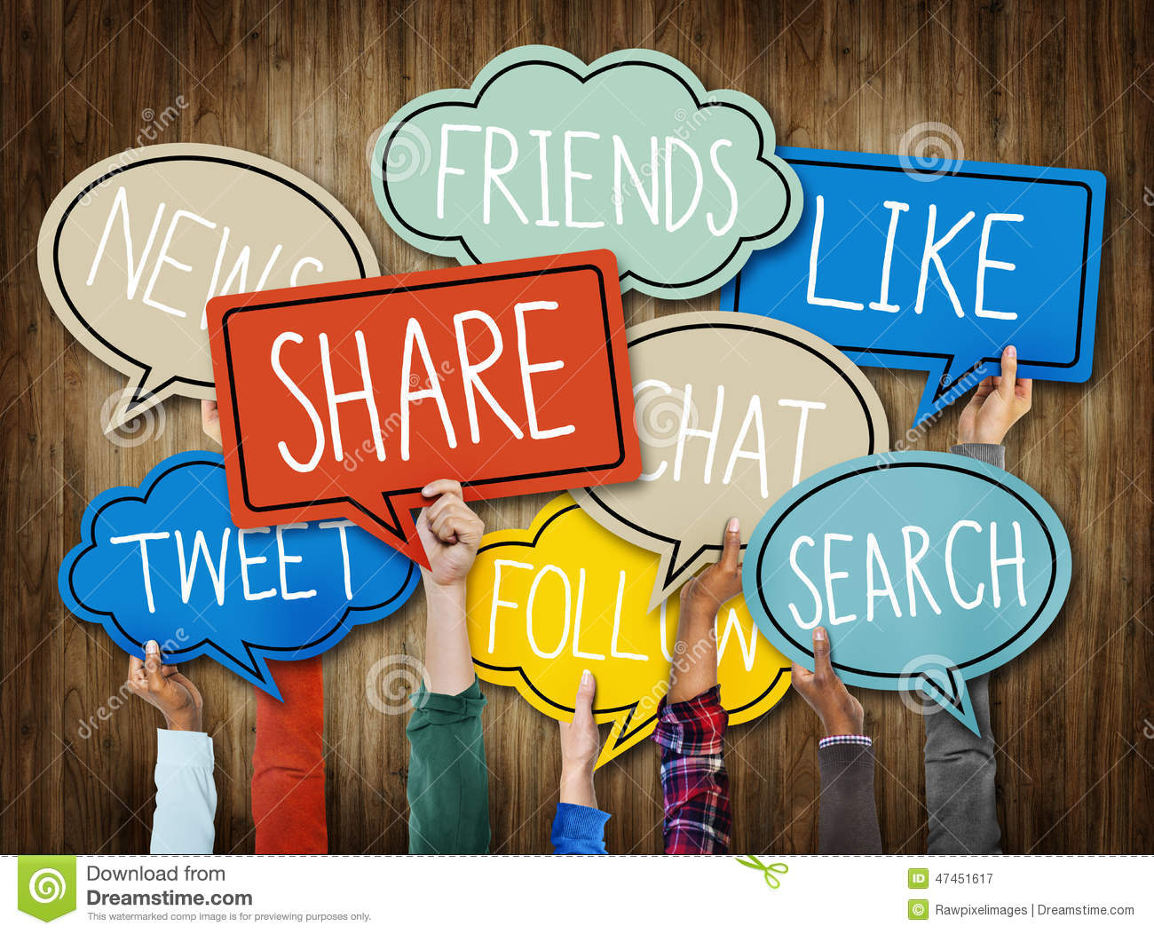 Diverse Hands Holding Social Media Speech Bubbles Concept