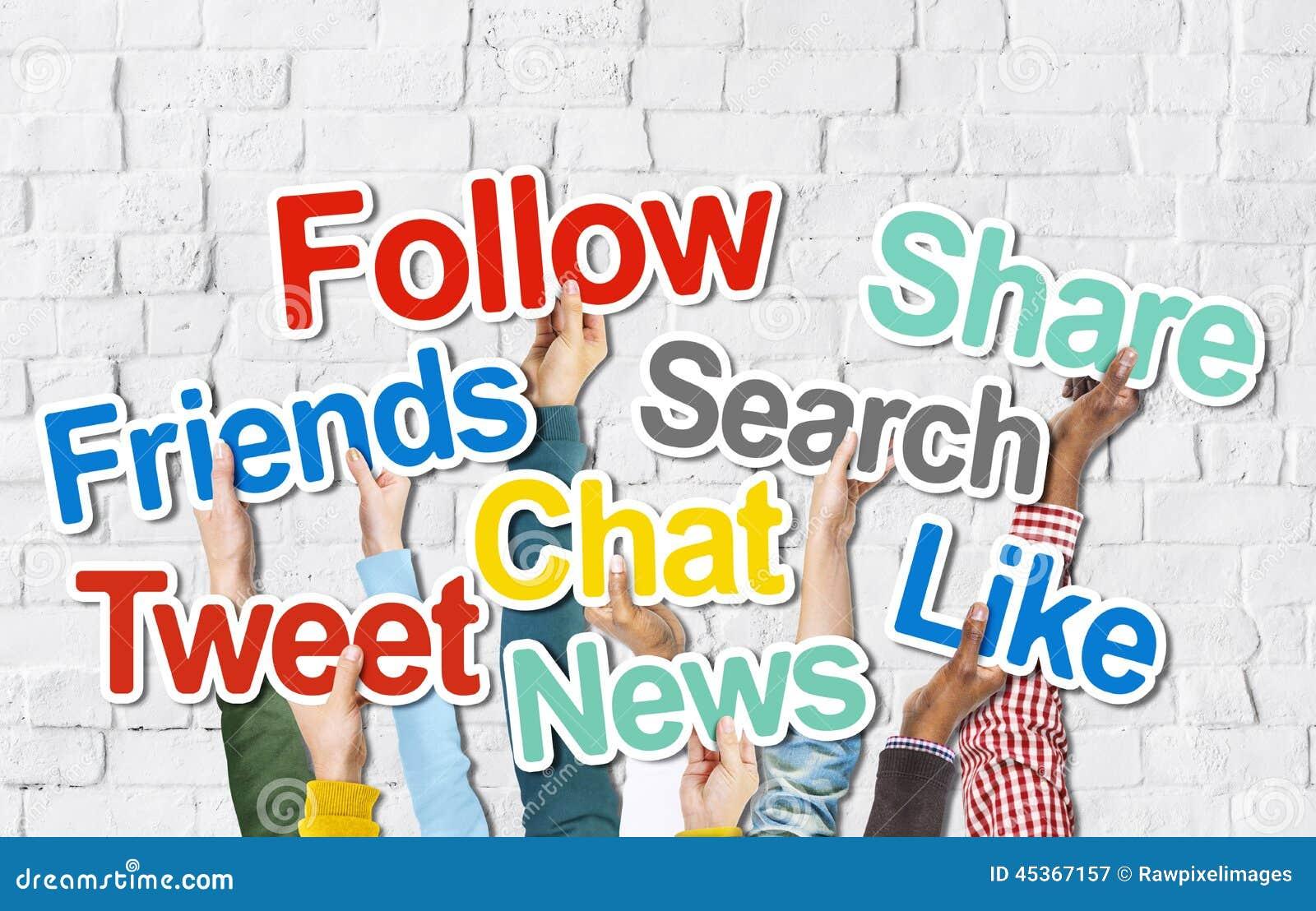 Diverse Hands Holding Social Media Words