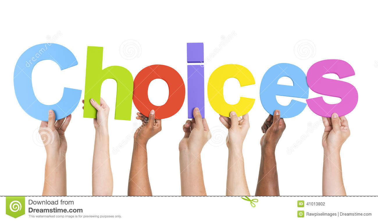 Diverse Hands Holding The Word Choices Stock Photo - Image: 41013802