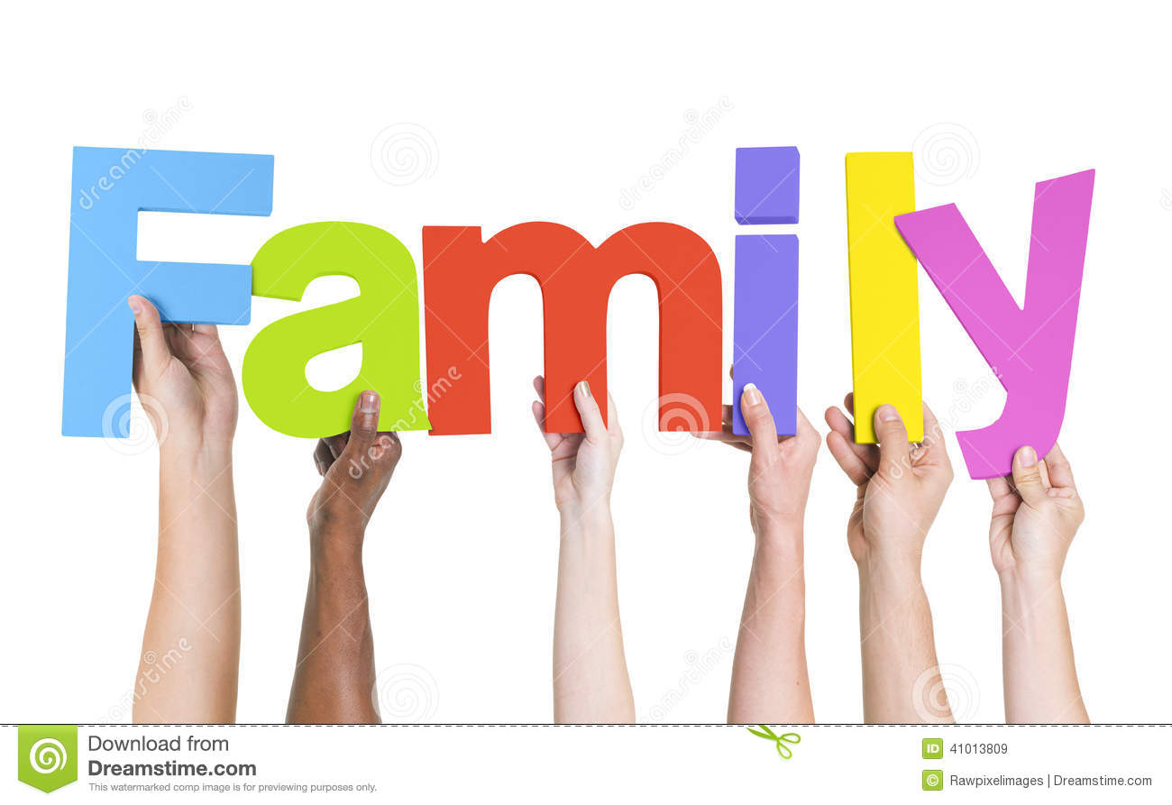 Diverse Hands Holding The Word Family Stock Photo - Image: 41013809