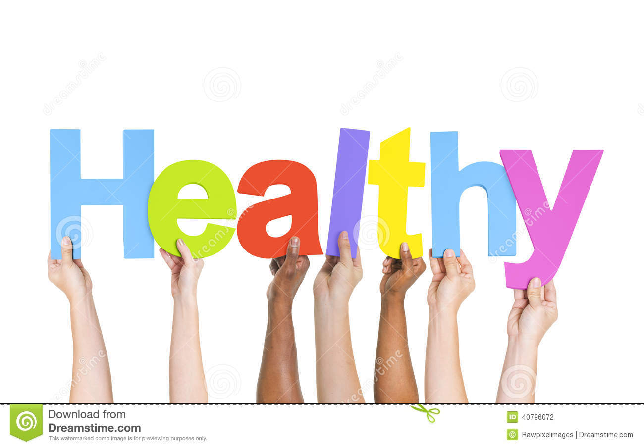 Diverse Hands Holding The Word Healthy Stock Photo - Image: 40796072