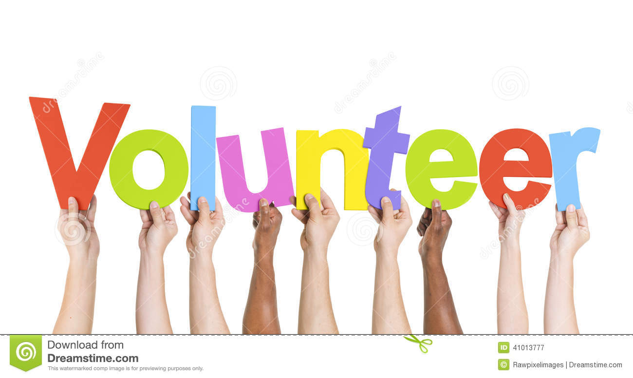 Diverse Hands Holding The Word Volunteer Stock Photo - Image: 41013777